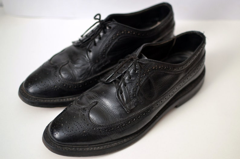 64b5c4635 Vtg. DEXTER Black Leather Longwing Brogues Size 8.5 D Classic