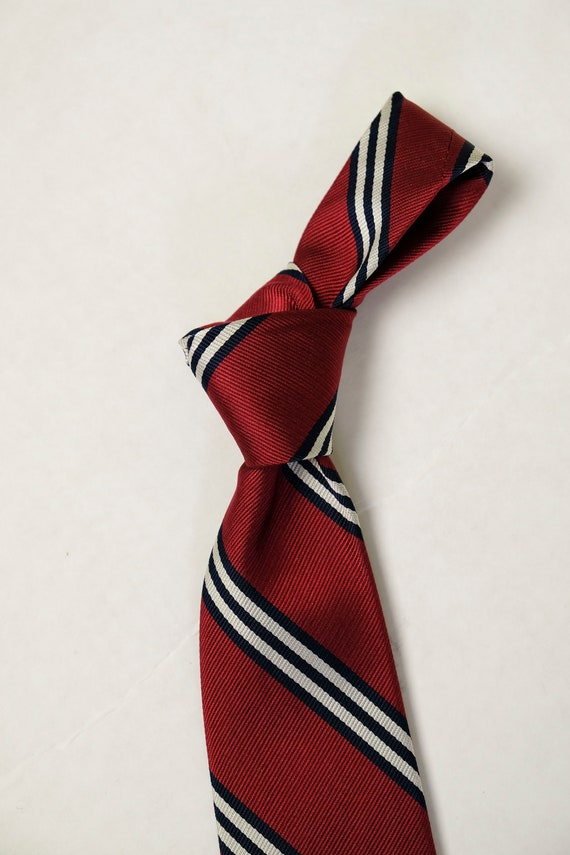 Vintage J PRESS BlueRedYellow Paisley Stripe Necktie Hand Screened Loomed in ENGLAND
