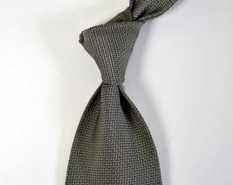 "Vintage POLO RALPH LAUREN Silver Gray Herringbone ""Thatched"" Tie Necktie Wedding Tie Made in U.S.A."