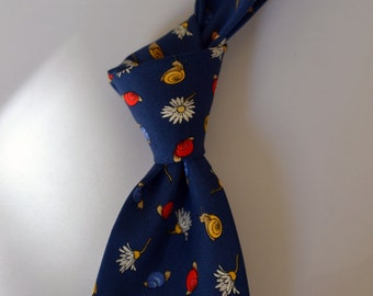 "Vtg. BURBERRY'S Blue/Yellow/Red/White ""Wetland"" Themed Critter Tie Snails Flowers Floral Self Tipped Luxe Foulard"