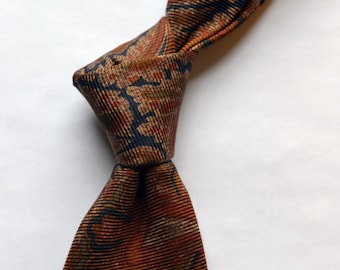 Vintage MARCUS by NEIMAN MARCUS Brown/Navy Ancient Madder Silk Twill Necktie