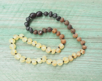 RAW Baltic Amber Teething Necklace for your Baby  unpolished multicolored beads rainbow pattern