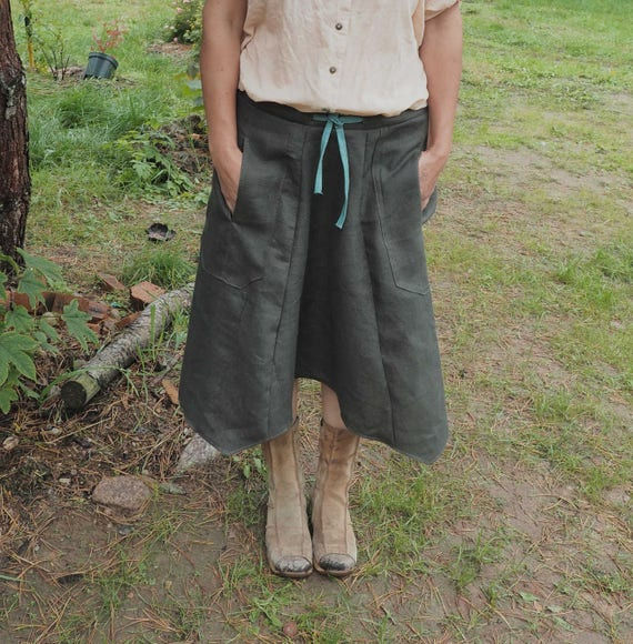 sizes skirt size length knee skirt skirt loose Skirt S Linen Women L one xnqwvzCUg