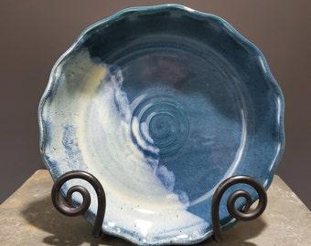 Pottery Pie Plate, Wheel Thrown Deep Dish Pottery, Handmade Pie Plate, Ceramic Baking Dish, Teal Glaze