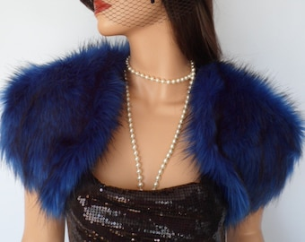 blue fur bolero, blue fur wrap, fake fur, bridal shrug, shawl, stole