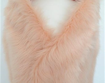 pink fur stole, champagne shawl, blush fake fur, wrap, shrug, collar