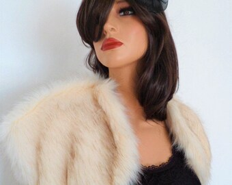 champagne fur bolero, cream fur wrap, cream faux fur, bridal shrug, brown tint, shawl, stole