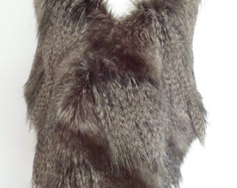gray wolf stole, grey fur shawl, slate grey faux fur, bridal wrap, shrug