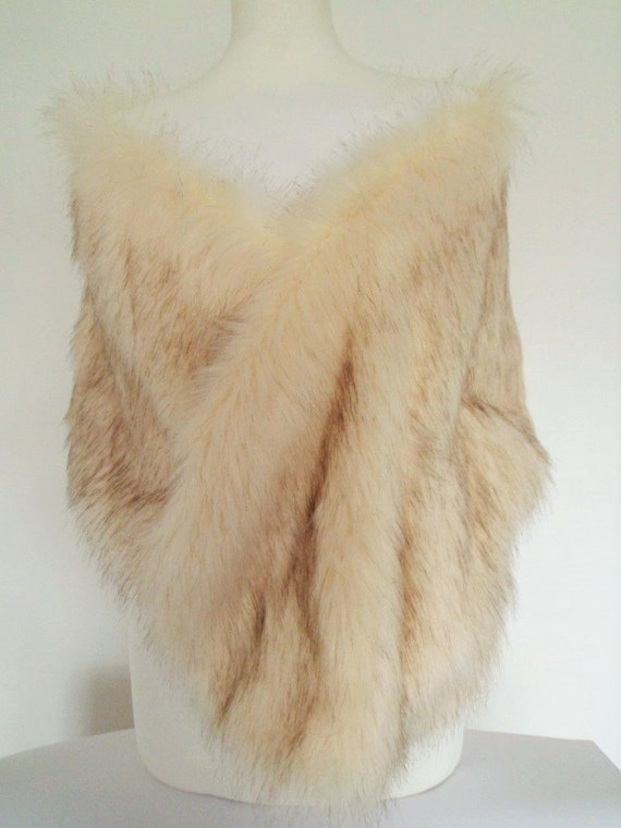 prestazione affidabile comprare on line check-out champagne stole, cream fur shawl, cream brown fur, fake fur shrug, faux fur  collar, bridesmaid wrap, bridal
