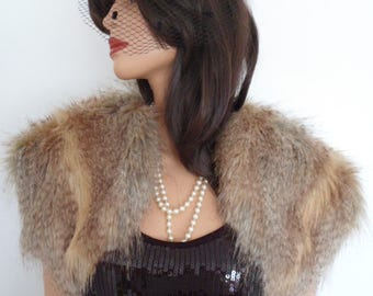 gold fur bolero, beige fur wrap, cream fake fur, bridal shrug, fawn stole, shawl