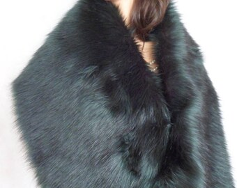 green fur stole, dark green wrap, fake fur shrug, faux fur shawl