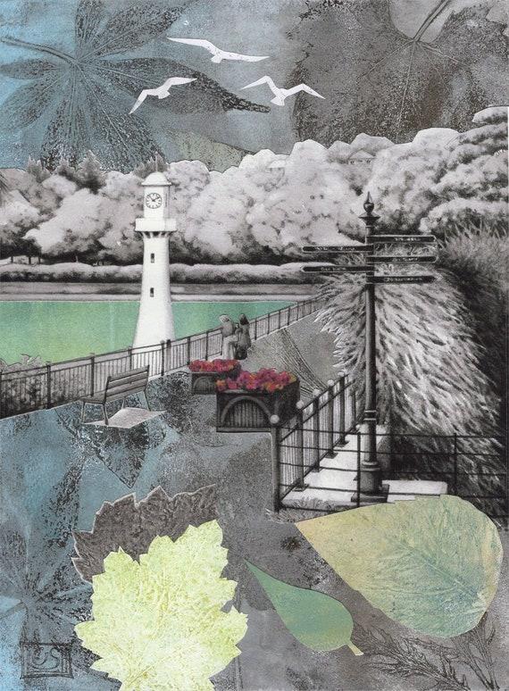 Roath Park Lake Cardiff Scott Memorial Monoprint Collage Etsy