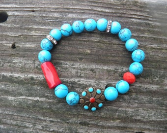 Blue, Red and brass/bronze/medallion stretch bracelet/semi precious gemstones/red coral/rhinestones/blue/boho chic/stack bracelet/feminine