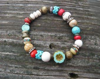 Czech glass flower,Tibetan medicine beads,howlite,picture jasper,and coral stretch bracelet/semi precious gemstones/boho chic/stack bracelet