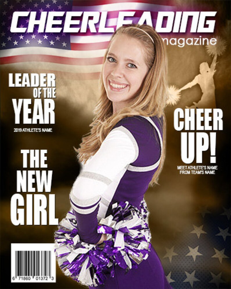 Cheerleading Magazine Cover Template Etsy