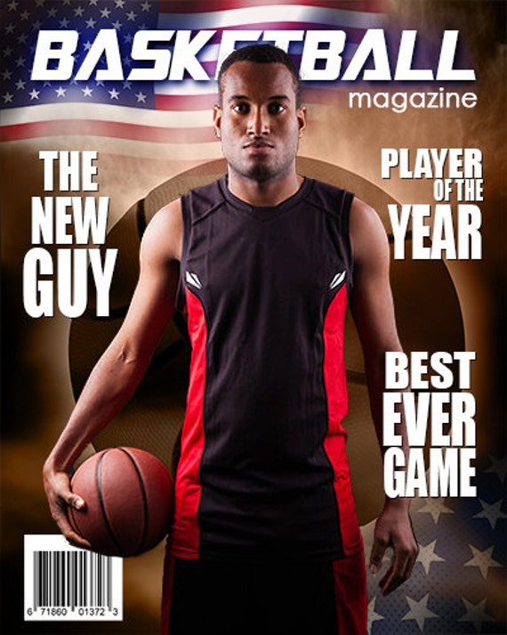 basketball magazine cover template etsy