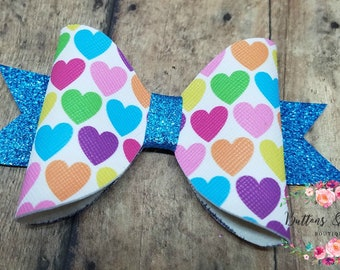 Bright Hearts and Glitter Faux Leather Bow