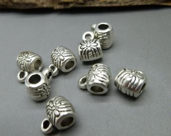 20 Antique Tibetan Silver Beads Bails Hangers - Jewelry Making Supplies  - PB24
