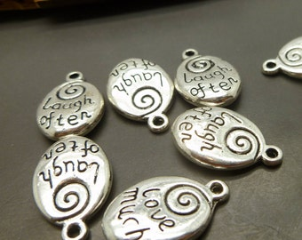 BULK - 15 Silver Message Charms - Laugh Often Love Much  - Inspirational Charms - Antique Tibetan Silver Charms lot Wholesale -MC1238