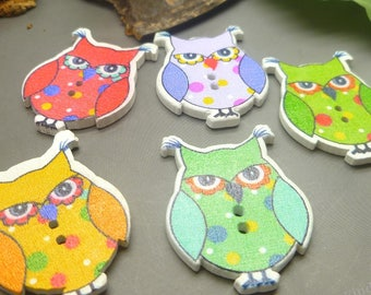 Lot of 10 Owl Wooden Buttons Perfect for Sewing , Scrapbooking, Crafts, Assorted Wood Buttons - 33mm x 25mm - Multicolors - BT01