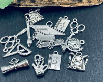 School charms Collection Antique Silver -12 pcs- Teacher Student Assorted Charms -Class of 2020-  MC1557