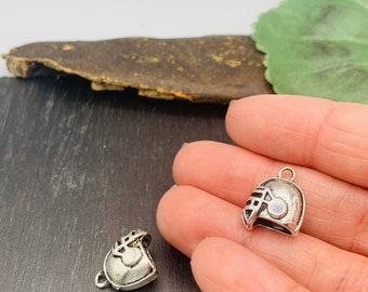 BULK Football Charms Antique Silver Tone -Football Helmet  Sports Charms Jewelry Making  -MC1581