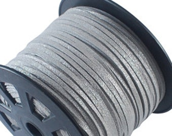6 ft Metallic Gray Suede Cord - Faux  Microfiber Silver Suede Cord - Jewelry making Stringing Material  -w0056