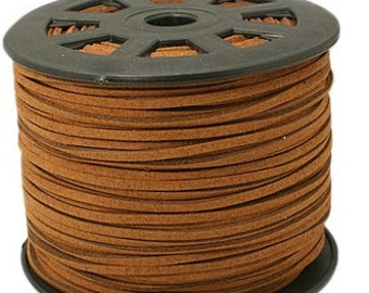 Brown Suede Cord - Microfiber Suede Cord - 15 feet- 5 yds-  3mm x 1.5mm- Beading Cord - Jewelry making Stringing Material  -w0072