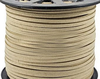 Beige Suede Cord - 15 feet / 5yds Microfiber Fax Suede Cord - 3mm x 1.5mm- Light Coffee - W0273