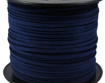 8 ft Navy Blue Suede Cord -  3mm x 1.5mm- Jewelry making Stringing Material  - W139