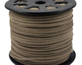 Brown Suede Cord - 15 feet / 5yds Microfiber Faux Suede Cord - 3mm x 1.5mm- Bracelet Necklace making Stringing Material  - W122