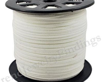 2 yds White Suede Cord - Microfiber Faux Suede Cord -  3mm x 1.5mm- Jewelry making String Material  -W012
