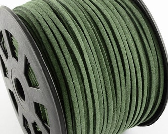 cc2c3d66f85c7 Suede Cord - Olive Green Suede cord - 5 yards Microfiber Faux Suede Leather  Cord - 15 feet - 3mm x 1.5mm- Jewelry making String -W282