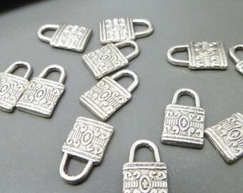 50 Bulk Lock Charms Padlock Antiqued Silver Steampunk Findings Wholesale 14mm