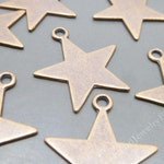 Blank Stamping Metal tags Charms - 10 Star Charms -Tibetan Copper Tone - S37