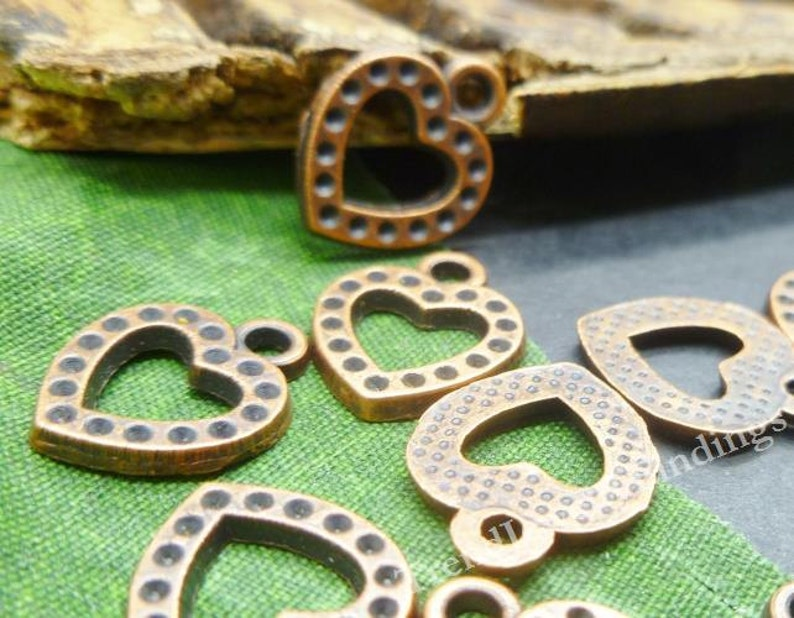BULK 40 Copper Tone Heart Charms  Wedding Charms  Open image 0