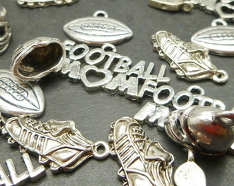 10 Silver Football charms Collection -  Mixed Charms - Sports Charms - Assorted Designs -  MC0872