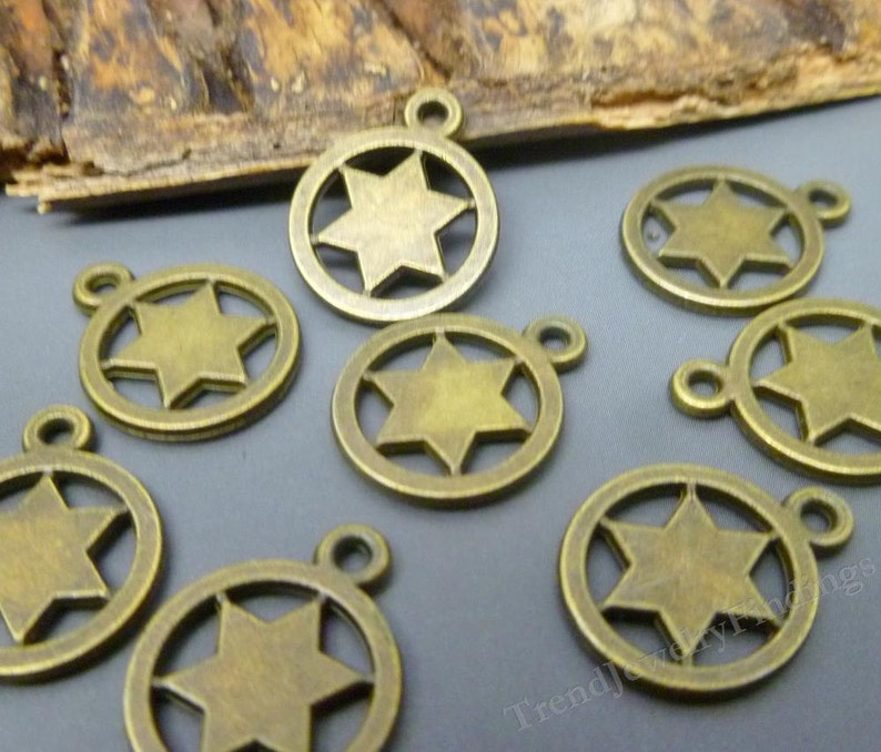 BULK  50 Star Charms in antique Bronze Tone Double Sided  image 0