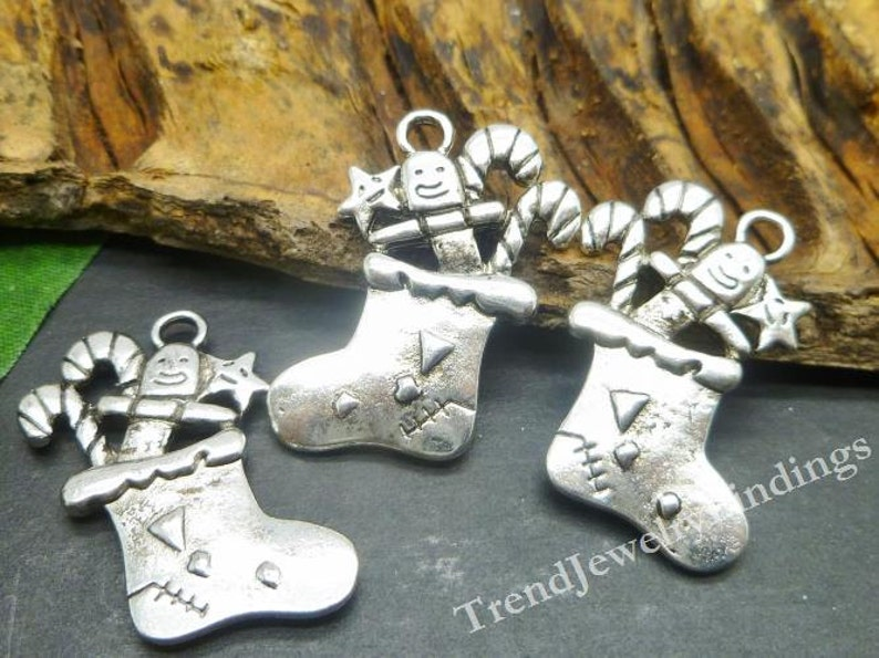 BULK 20 Large Christmas Charms Antique Silver Tone Double Sided MC0772