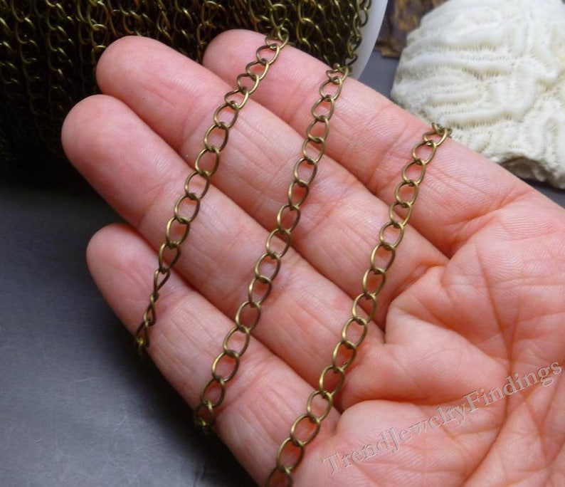 6mm x 3mm CH024 unsoldered open  links 10 ft Antique Bronze Tone Chain Jewelry Making Chain