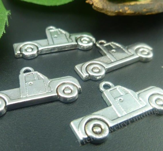 BULK 50 Truck charms antique silver tone TT4