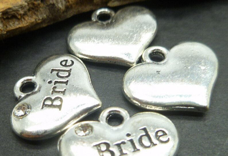 10 Bride Charms  Antique Silver Tone Wedding Charms in BULK image 0