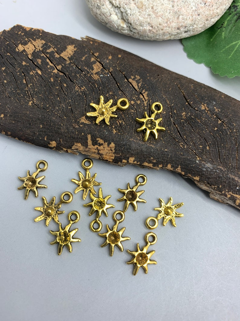Bulk Sun Charms Antique Gold Tone  Summer Charms Pack of image 0