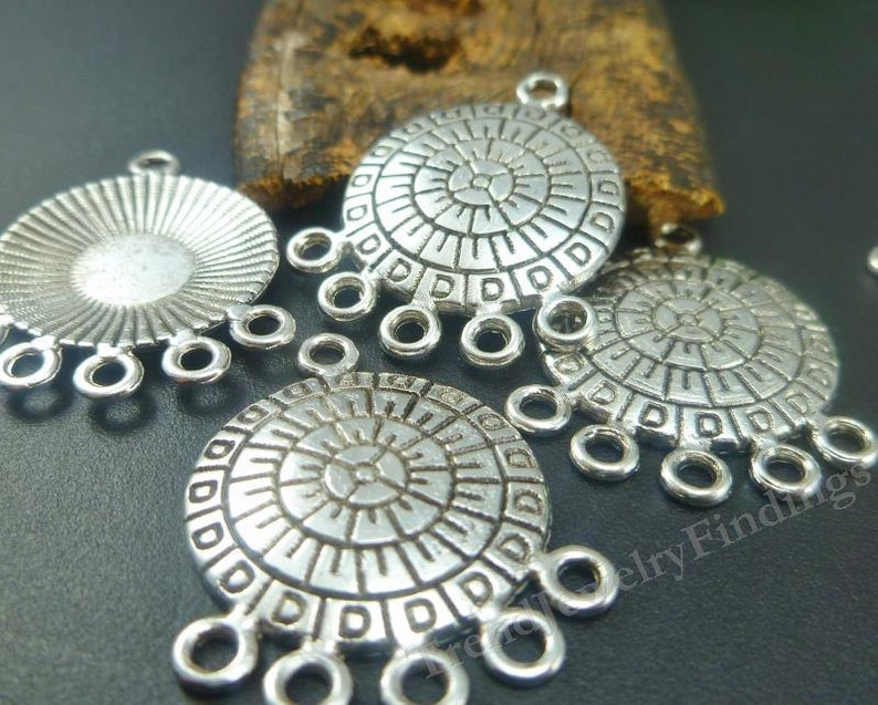 10 Antique Silver Tone Chandeliers Earring  Settings  image 0