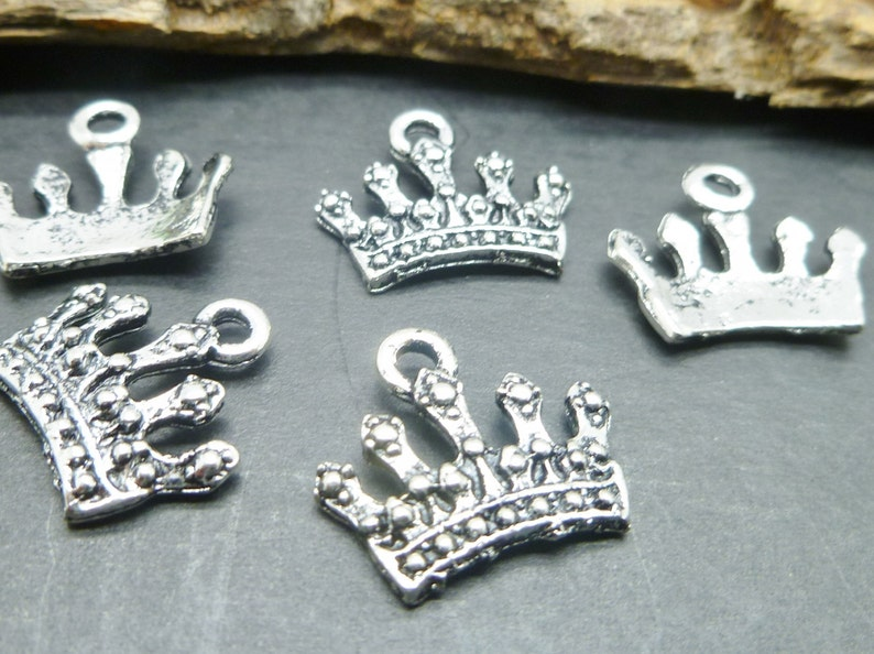 Silver Tone Princess Crown Charms   kingdom theme Charms  image 0