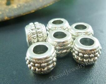 BULK - 20 Antique Tibetan Silver beads - Large Hole Metal Beads - fits European Style Charms Bracelets - Beading Supplies Lot -EB025