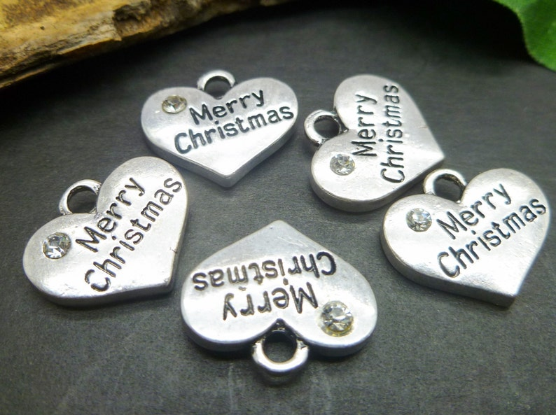 10 Christmas Charms Antique Silver Tone jewelry making Findings -MC754 Wine Charms Merry Christmas