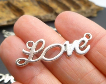 5 Silver Tone Love charms - Bracelet Link Connectors - Wrapping Bracelet Making -MC0051