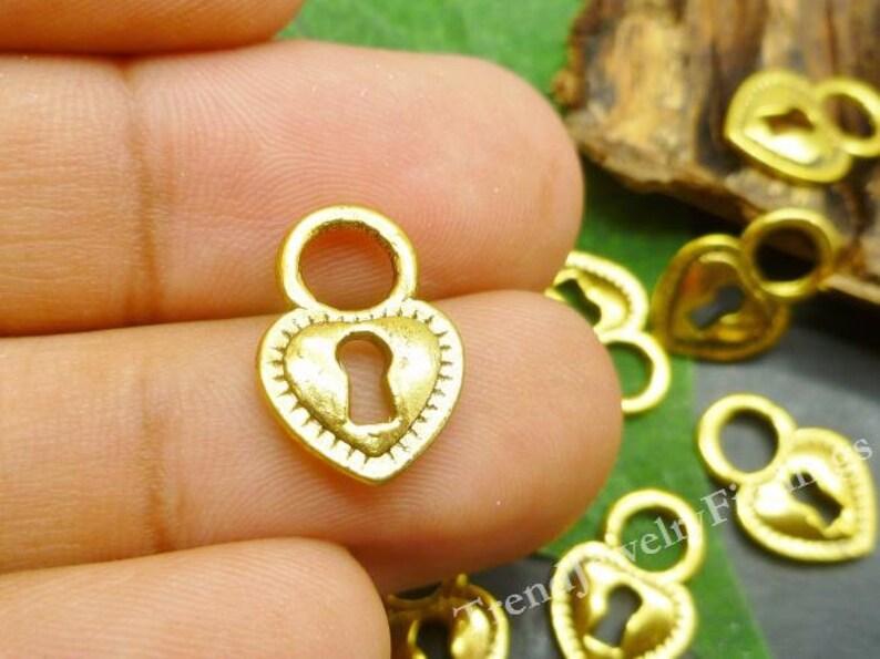 BULK  Gold Tone Heart Lock Charms Wedding Charms Wholesale image 0