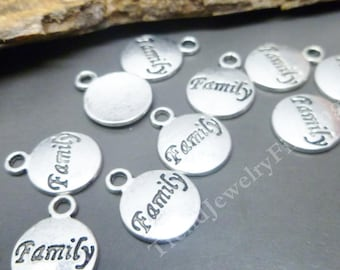BULK - Antique Silver Family Charms - Engraved  Inspirational Tags -  Lot of 25 pcs -MC0726